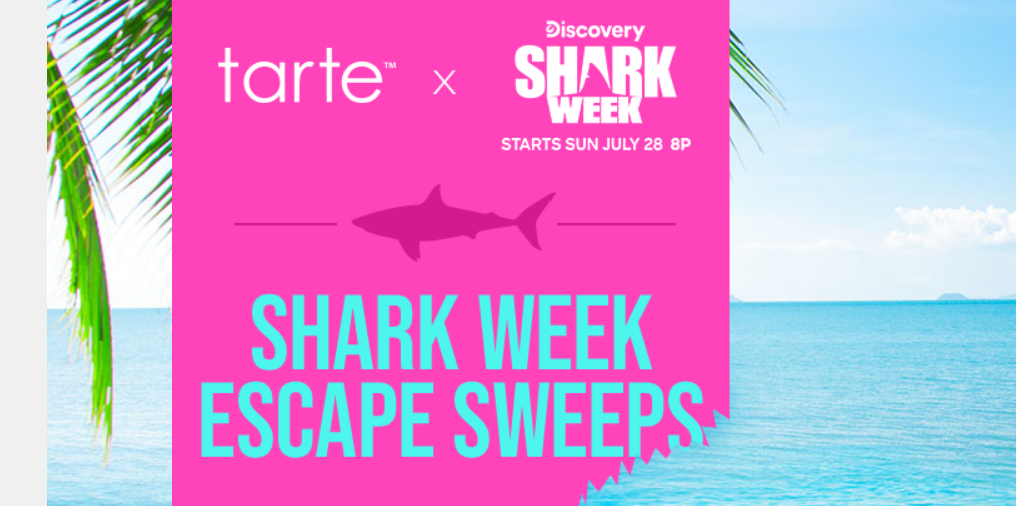 Tarte Cosmetics is celebrating Shark Week with a sweepstakes. Enter for your chance to win a trip for two to Costa Rica valued at over $8,000!