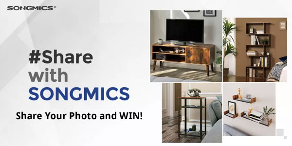 Looking to win some of SONGMICS most popular products? Read on! Show off your home decor styles or storage solutions and share it with us using the hashtag #SharewithSONGMICS for a chance to win! Winners will receive one of the 10 prizes.