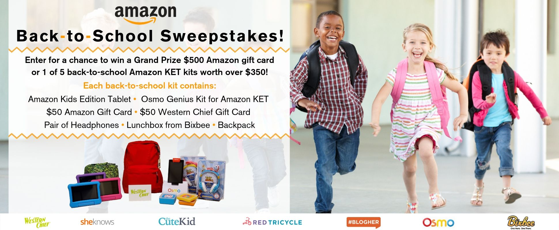 Enter Red Tricycle's Back-to-School Sweepstakes for your chance to win a Grand Prize $500 Amazon gift card or 1 of 5 back-to-school Amazon KET kits worth over $350 each!