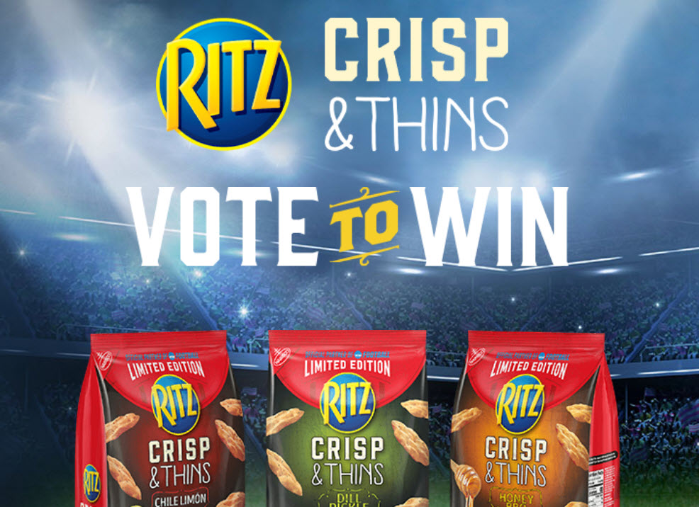 Which Ritz Crisp rich flavor do you want to win in 2020? Vote for your favorite flavor and you could win the Grand Prize trip to the 2020 Division I FCS National Championship Game in Frisco, TX. Your vote could also instantly win prizes like a Smart TV, 4-Burner Grill, Portable Speaker, or other awesome game day prizes.