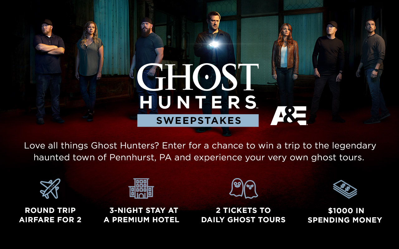 Enter A&E TV's Network Ghost Hunters Sweepstakes for your chance to win a trip for 2 to Pennhurst, PA so you can experience your very own ghost tour PLUS you will also get a $1,000 cash prize!