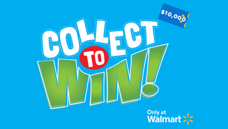 1,000,253 PRIZES! Get Ready, Get Set, Get Searching! The Walmart Collect to Win promotion has begun. Start your Walmart game piece collection for a chance to win up to a $10,000 Walmart gift card!