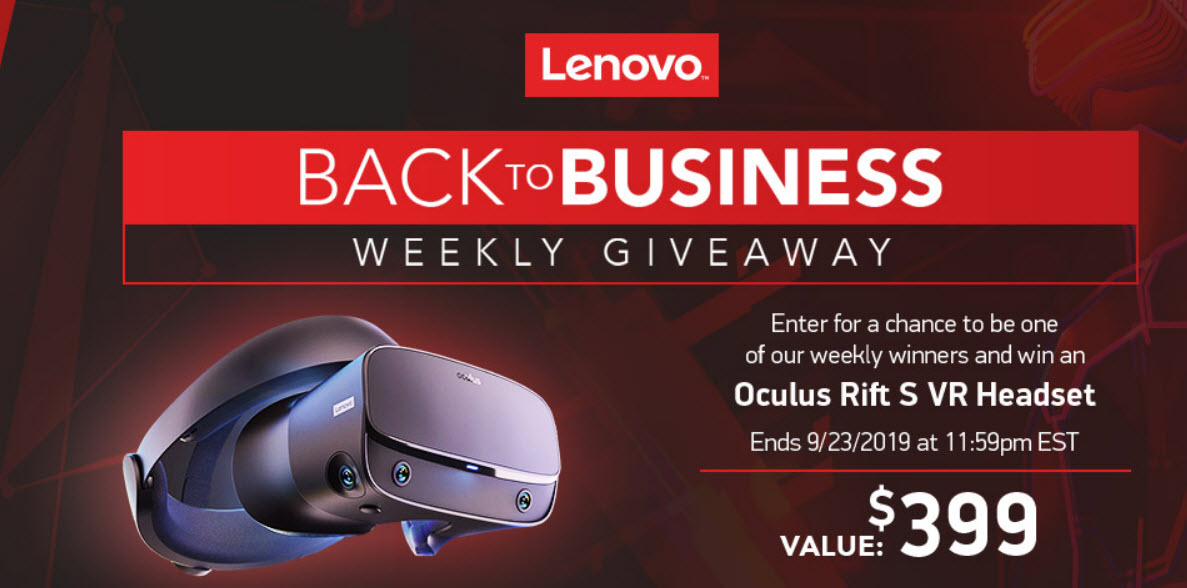 WEEKLY WINNERS! Enter Tiger Direct's Lenovo Sweepstakes for your chance to win a Lenovo Oculus Rifts S VR Headset.