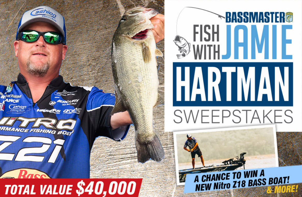 Enter Bassmaster's Sweepstakes for your chance to win a trip to fish with Jamie Hartman.