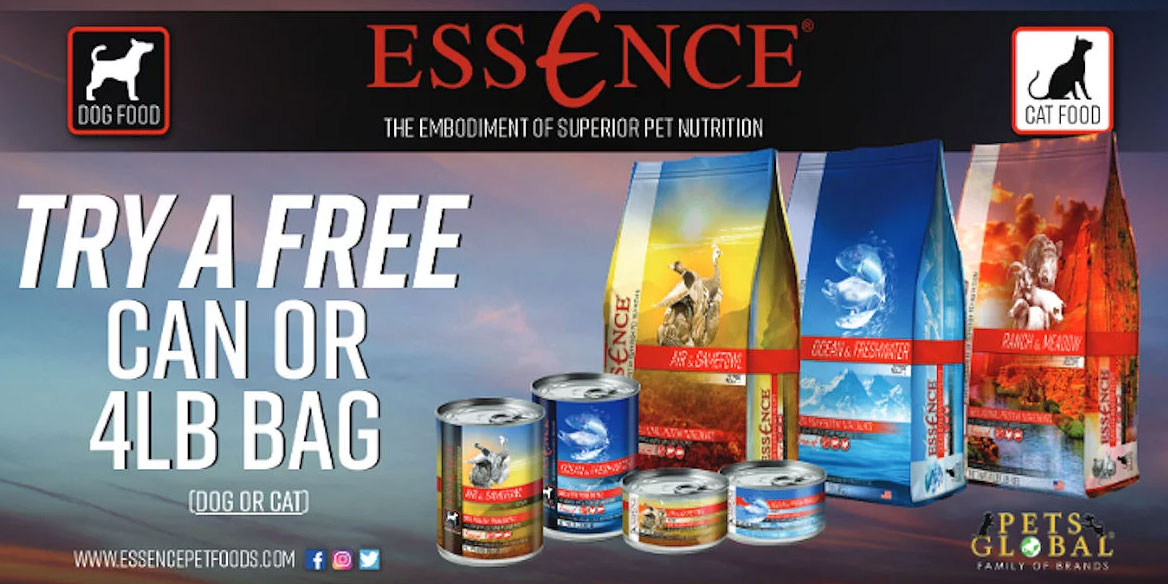 Fill out the form and you will get a FREE 4lb Bag of Essence Dog or Cat Food (a $17.99 value).