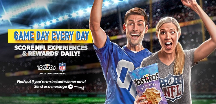 Grab your Free Tostitos Game Day Instant Win Game code and play daily for your chance to win Ticketmaster and Cash gift cards, 2019 NFL Game Pass subscriptions and Free NFL trips.