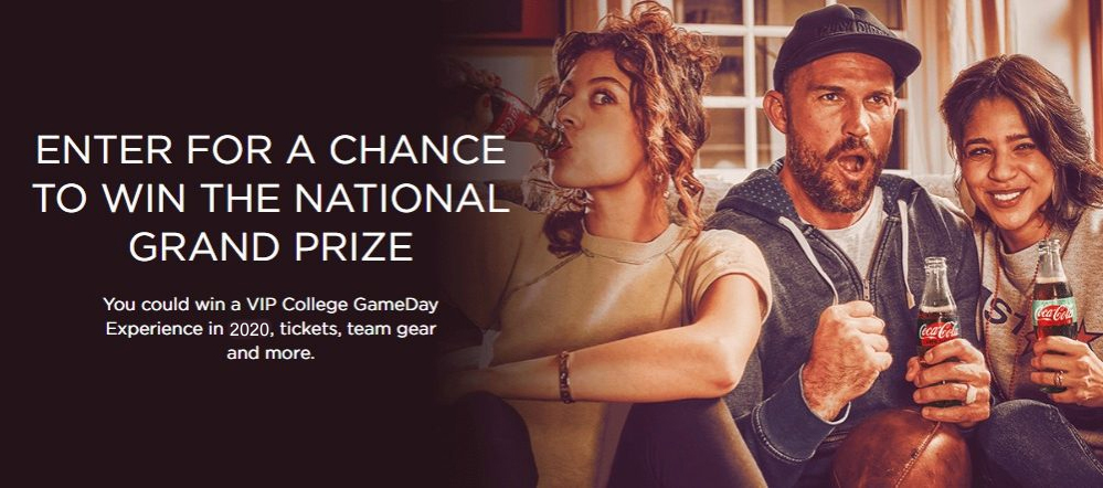 78,571 PRIZES! Play the Coca-Cola Fall Football Instant Win Game daily for your chance to win from over 78,000 prizes and be entered to win a grand prize trip for two to a a College GameDay experience in 2020