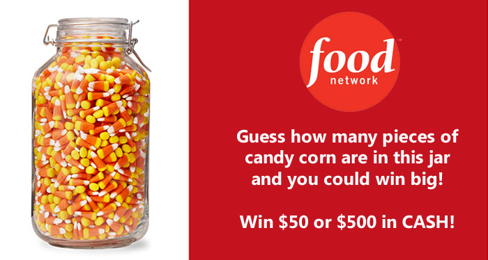 What is your count? Guess how many pieces of candy corn are in this jar to enter the Food Network Magazine October Who's Counting Contest for your chance to win one of 4 cash prizes. $50 and $1,000 cash prizes will be given away.