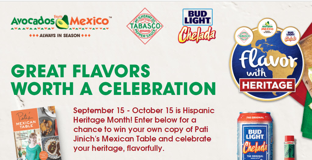 300 WINNERS! September 15 - October 15 is Hispanic Heritage Month! Enter for a chance to win your own copy of Pati Jinich's Mexican Table autographed by chef Pati Jinich and celebrate your heritage, flavorfully.