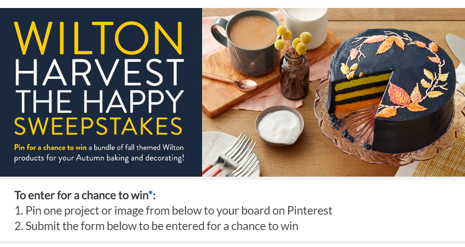 """""""Pin"""" at least one of the Autumn projects or recipes on the Wilton Harvest the Happy page to your Pinterest account by clicking on the """"Pin"""" button and adding #WiltonSweepstakes to the description. Forget the lattes, Pumpkin Spice Donuts will get you in the fall spirit."""