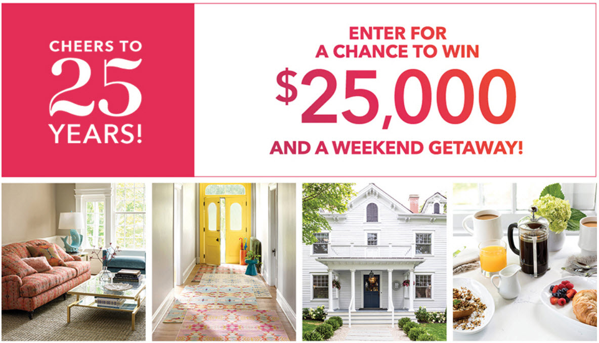 Enter for your chance to win a $25,000 Annie Selke shopping spree plus a trip Annie's hometown of Lenox, Massachusetts in the in the beautiful Berkshires