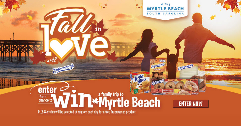 DAILY WINNERS! Enter for your chance to win Free Entenmann's product coupons and be entered to win the grand prize, a trip for 4 to Myrtle Beach, South Carolina