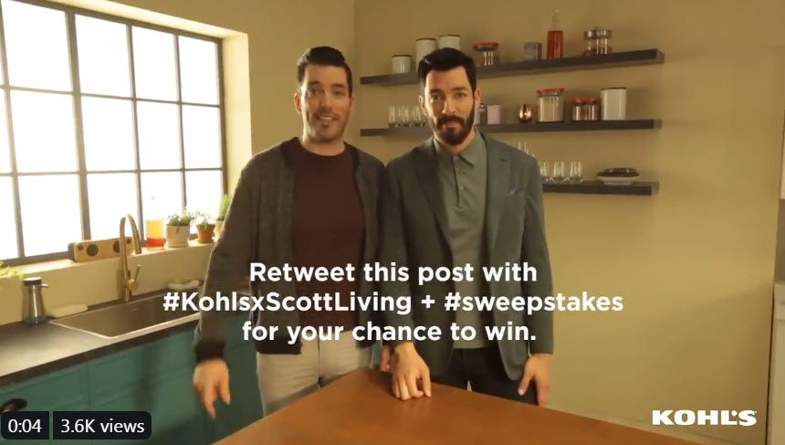 Want to win a $1,000 Kohl's Gift Card to help you fall back in love with your home? Follow Kohl's on Twitter and retweet the sweepstakes tweet with #KohlsxScottLiving + #sweepstakes for your chance to win.