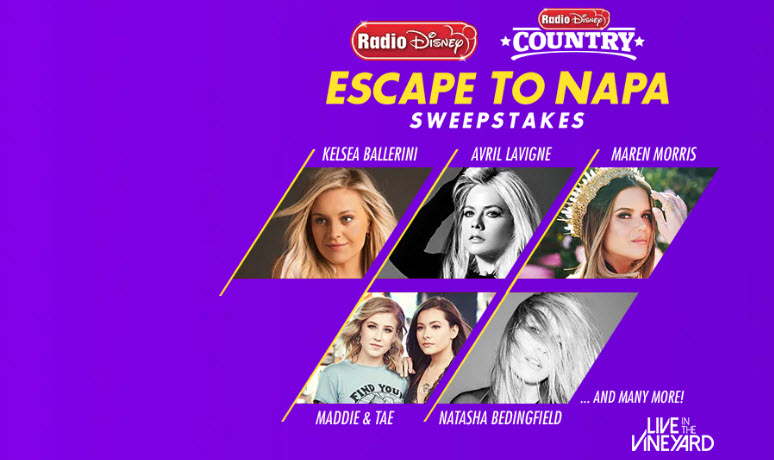 Radio Disney and Radio Disney Country is sending one lucky winner and a special guest on a VIP weekend to the heart of Napa Valley. Live in Vineyard brings fans an up close and personal weekend of food and superstar music unlike any other event. Featuring acoustic performances by: Maren Morris, Kelsea Ballerini, Avril Lavigne, Natasha Bedingfield, and many more. You can't buy this once in a lifetime experience; you can only win it here!