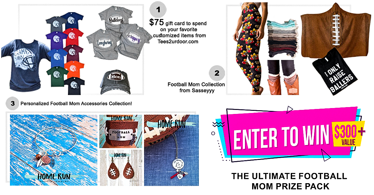 Enter for your chance to winOver $300 in Football Mom Gear from Bilby and Bear that includes a $75 Certificate from Tees2urdoor.com, Home Run Accessories, and Sasseyyy boutique products
