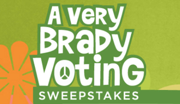 """10 WINNERS! Enter for your chance to win """"A Very Brady Renovation"""" commemorative printed poster, autographed by the series cast. Vote for the finalist you think should win a stay in the world-famous Brady Bunch house and $25,000. When you vote, you will be entered for the chance to win one of ten exclusive one-of-a-kind Brady prizes. Vote and enter once a day through October 11 at 5:00 pm ET."""
