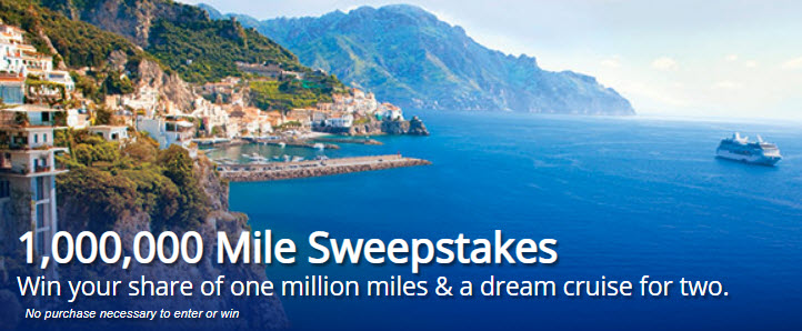 Enter the 1,000,000 Mile United Cruises & MileagePlus Sweepstakes today for your chance to win your share of one million United MileagePlus miles and a dream cruise getaway to the destination of your choice. Don't miss your chance to win the vacation of a lifetime, from United Cruises and MileagePlus Cruise Awards.