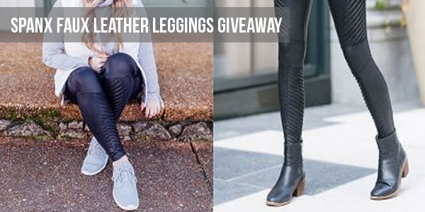 Enter for your chance to winSpanx faux leather leggings. These sleek faux-leather leggings are toughened up with textured moto seams.