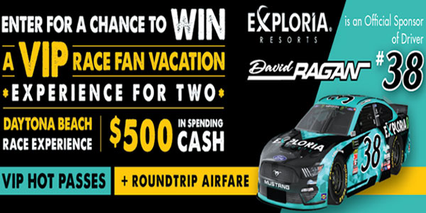 Enter for your chance to win a VIP Race Fan Vacation experience for two plus round-trip airfare tickets and more. A Total Retail Value of $2,300!