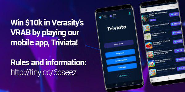 Enter for your chance to win up to $5,000 in VRAB cryptocurrency when you play Verasity's VRAB Triviata games.