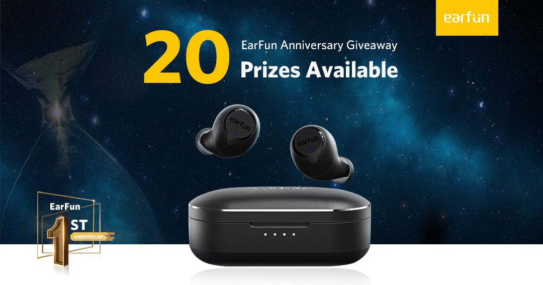 20 WINNERS! Enter for your chance to win a set of EarFun Bluetooth 5.0 Earbuds with Wireless Charging Case that have been featured on CNET