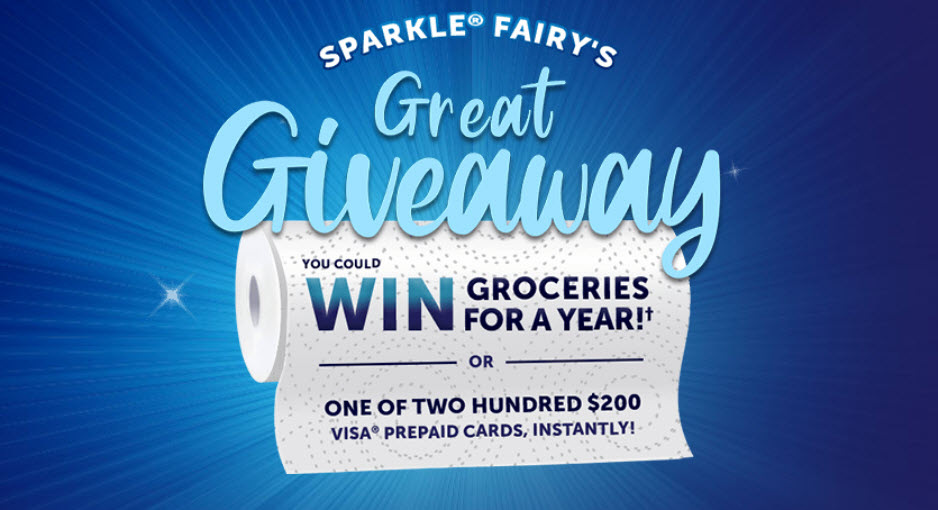 150,201 WINNERS! Enter Sparkle Fairy's Great Giveaway daily to win! Sparkle Fairy is giving away prizes to 200 lucky winners! You could WIN groceries for a year OR instantly win a $200 VisaPrepaid Card.