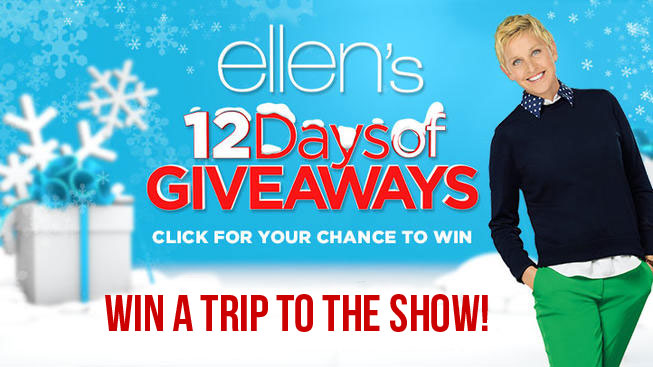 "One grand prize winner will win a trip to Los Angeles for Ellen's 12 Days of Giveaways holiday episodes. The prize includes two VIP tickets to attend a taping of ""The Ellen DeGeneres Show"" during production of Ellen's 12 Days of Giveaways holiday episodes PLUS 2 first prize winners will each win $1,500 in cash!"