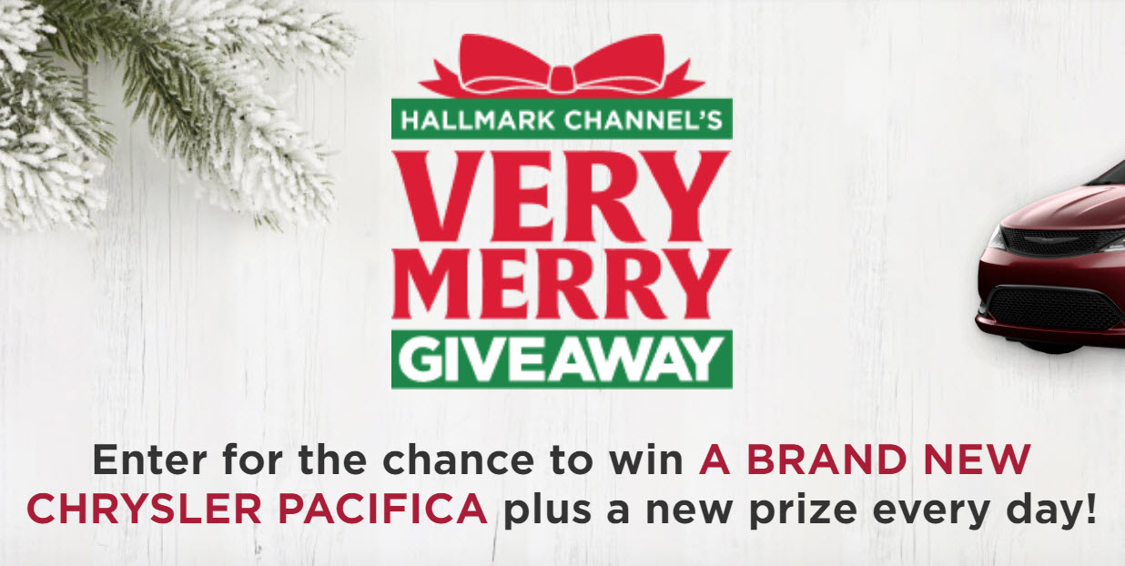 Enter the Hallmark Channel's Very Merry Sweepstakes daily for the chance to win A BRAND NEW CHRYSLER PACIFICA plus a new prize every day!