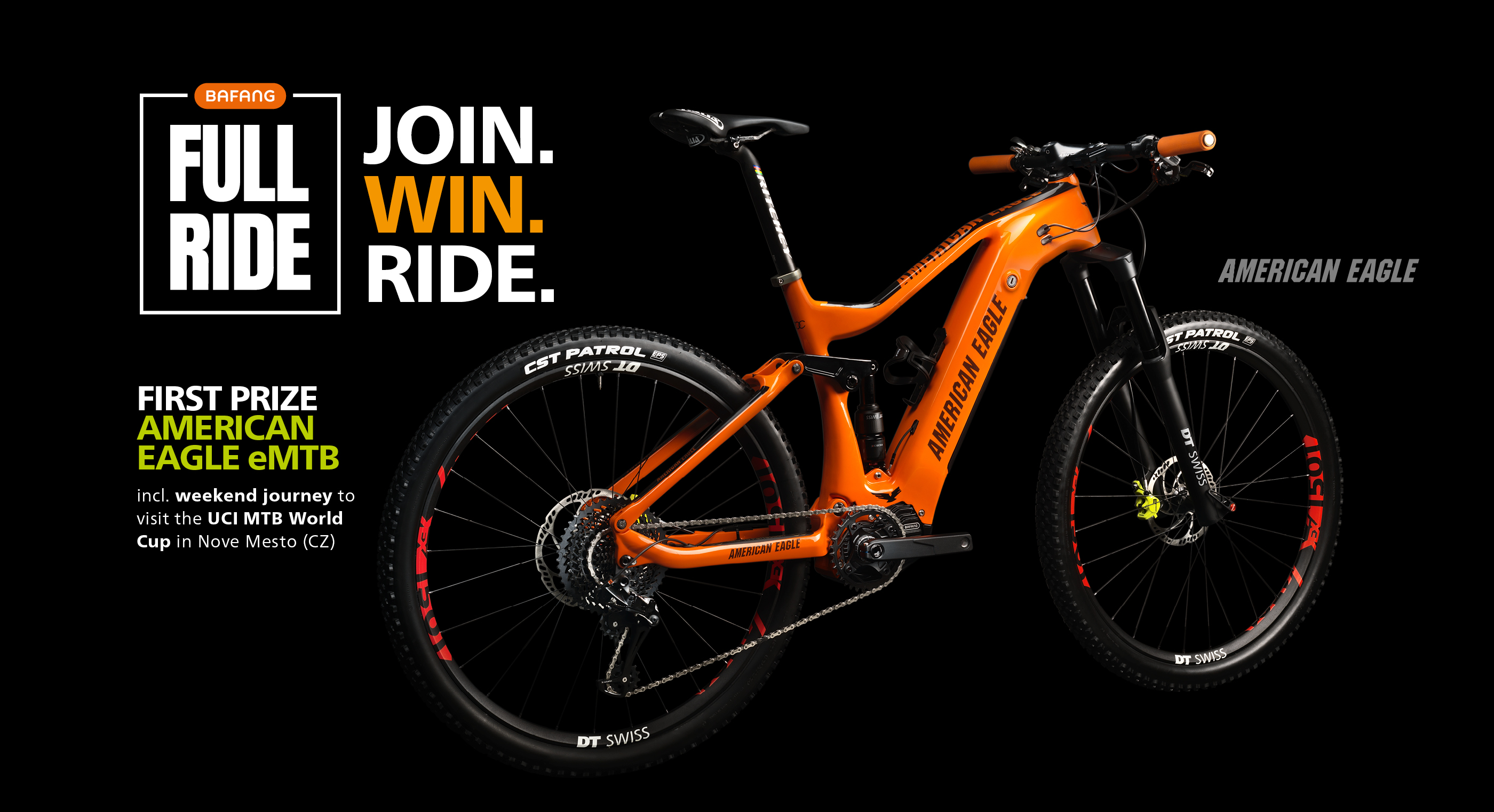 Enter for your chance to win an American Eagle eMTB bike powered by BAFANG and a trip to the UCI MTB World Cup in Czech Republic! Total prize package worth around $2,500