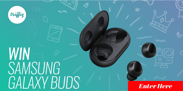 Enter for your chance to win a pair of Samsung Galaxy Buds valued at $130.Log in or signup for your Free Triffiq account, watch a video and answer a relevant question to be in with a chance to win.