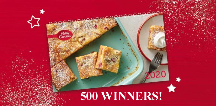 500 WINNERS! Enter for your chance to win a 2020 Betty Crocker Recipe Calendar. Betty Crocker is giving away free copies of their 2020 calendar to 500 lucky fans! Each month the calendar features a different show-stopping dessert, Instagram-worthy meal idea or tasty treat that will show friends and family how much you value every day you spend together.
