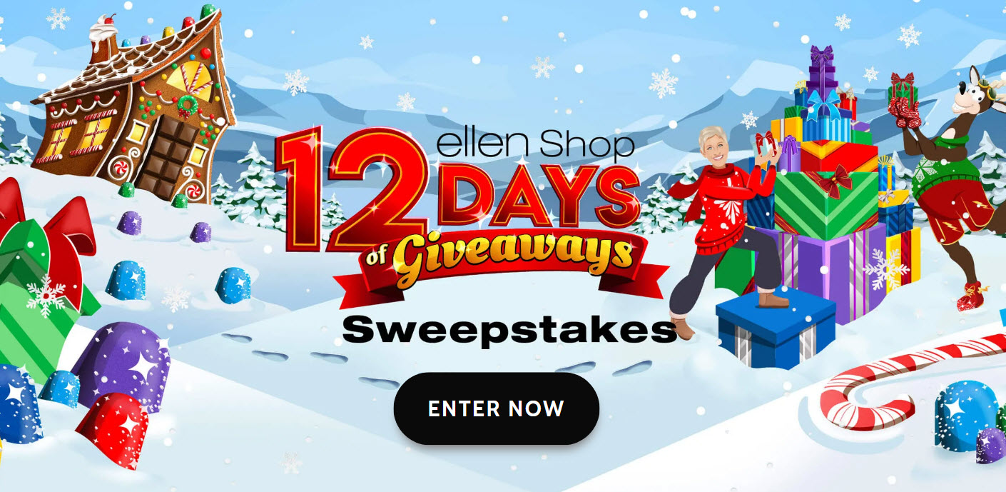 Hurry! Ends soon. Enter for your chance to WIN a VIP trip to Ellen's 12 Days of Giveaways