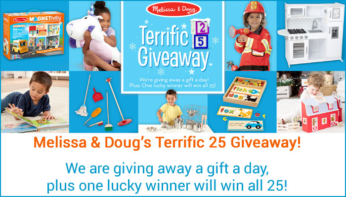 Enter Melissa & Doug's Terrific 25 Giveaway! Enter ONCE, for your chance to win amazing gifts that ignite imaginations and inspire! #TakeBackChildhood #CountlessWaysToPlay They're giving away a gift a day, plus one lucky winner will win all 25 toys.