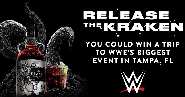 """Enter for your chance to win a trip for two to Tampa, Florida for WWE's Biggest Event. Share what WWE """"finishing move"""" you would use to take down The Kraken for a chance to win a trip to a @WWE event in Tampa."""