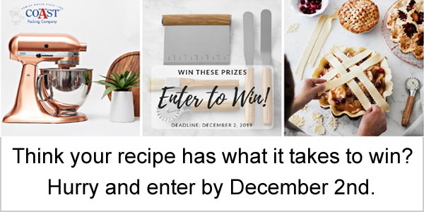 Enter for your chance to win a KitchenAid Metallic Series 5-Qt. Stand Mixer, Le Creuset 6 Piece Flame Stoneware Heritage Bakeware Set, or set of 5 Olivewood Pastry Tools.