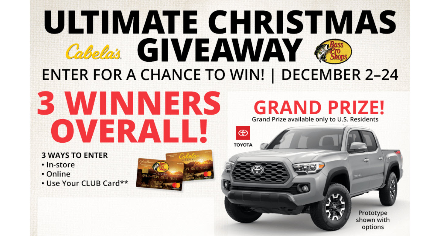 Enter for your chance to win a 2020 Toyota Tacoma TRD Off-Road D-Cab, a 2020 Sun Tracker Sportfish 22 DLX Pontoon boat or a Tacker OffRoad ATV when you enter Bass Pro Shops and Cabela's Ultimate Christmas Giveaway