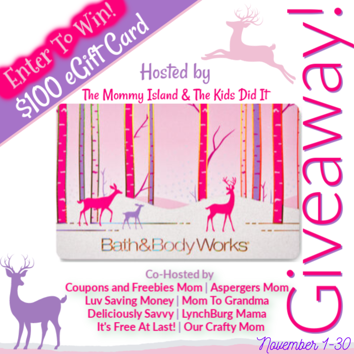 Enter for your chance to win a$100 Bath & Body Works E-Gift Card. This giveaway is being hosted by The Mommy Island and The Kids Did It blogs.
