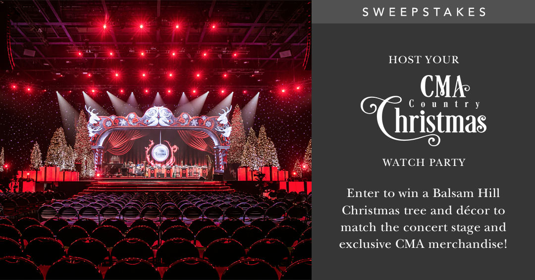 Enter the Balsam Hill giveaway for the chance to bring home a Balsam Hill Christmas tree and decorating package, as well as exclusive CMA merchandise. CMA Country Christmas TV special is airing soon! Enjoy music from the biggest country artists and share the joy with friends and family by hosting your very own concert viewing party.