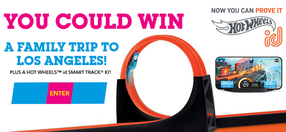 Enter for your chance to win a trip to Los Angeles for a Family of Four to visit the Warner Bros. Studios. Twenty-five winners will each win aHot Wheels id Smart Track Kit
