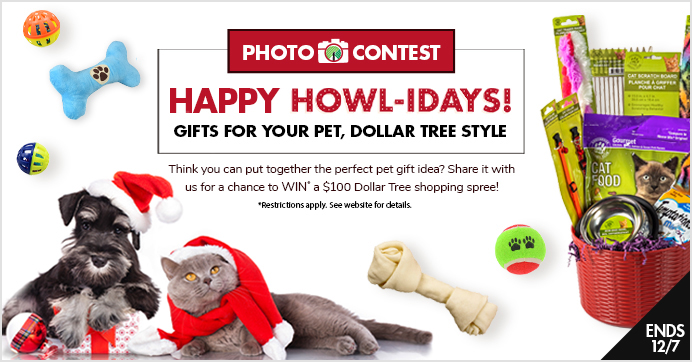 Calling all pet lovers! Dollar Tree wants to see how you spoil your furry friends and frisky felines during the holidays on a budget. Share a photo of your purrrrr-fect budget-friendly presents that you either make or buy for your pets during the holidays. Whether it's a sweet treat or a fun toy, we're howl-ing to see what you come up with!