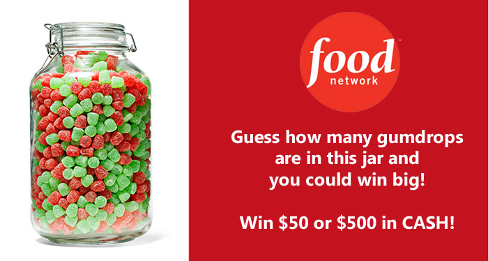 Guess how many gumdrops are in the jar to enter the Food Network Magazine December Who's Counting Contest your chance to win $50 to $500 in cash!