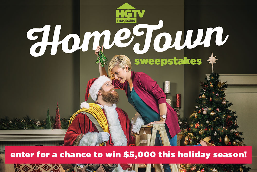 Enter for your chance to win $5,000 awarded in the form of a check when you enter the #HGTV Magazine Home Town Decor Sweepstakes