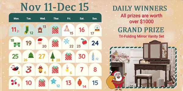 Enter the SONGMICS Advent Calendar Giveaway daily for your chance to win great prizes including jewelry boxes, watch boxes, makeup cases, or jewelry cabinet. Your daily entry automatically activates your entry into the grand prize drawing for a SONGMICS Tri-Folding Mirror Vanity Set.