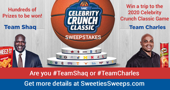 Vote Team Shaq or Team Charles to enter the Kellogg's 2020 Celebrity Crunch Classic Sweepstakes for your chance to win a trip to the 2020 Celebrity Crunch Classic Game, plus hundreds of other prizes! Basketball legends Charles Barkley and Shaquille O'Neal will coach the two teams comprised of celebrities and the sweepstakes winners in the ultimate showdown. Will you be there?