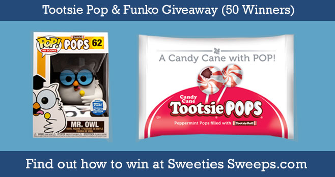 50 WINNERS! Enter for your chance to win a Mr Owl Funko and a bag of Candy Cane Tootsie Pops. The rules are simple. Just enter your email and cross your fingers that you are chosen as a winner!
