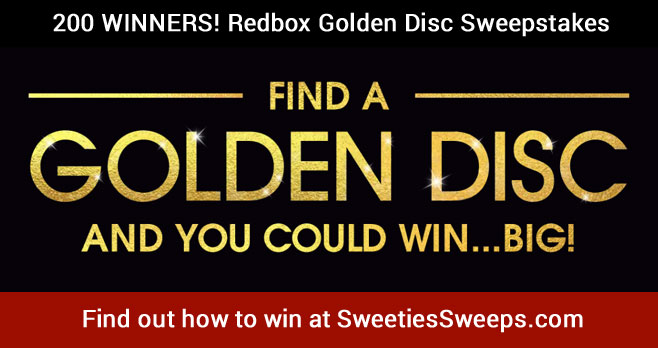 200 WINNERS! Enter the #Redbox Golden Disc Sweepstakes for your chance to win to win great prizes! Enter daily for a better chance of winning one of the two hundred prizes.