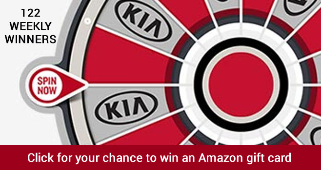 Play the Kia Front Row Instant Win Game daily. There will be 122 weekly Amazon gift card winners.
