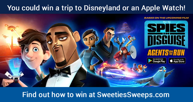 Enter the Spies in Disguise: Agents on the Run Social Sweepstakes for your chance to win a trip to Disneyland, an Apple Watch, Regal Theater Gift Card, or a signed Spies in Disguise: Agents on the Run movie poster.