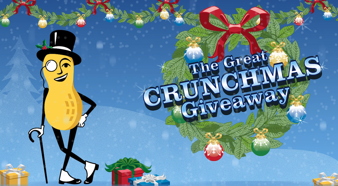 804 CASH PRIZES! Mr. Peanut has your back with the Planters Great Crunchmas Instant Win Game! He's there to provide you with a filling snack while you're out shopping or to help with last minute party favor ideas PLUS he's giving you the chance to win too!