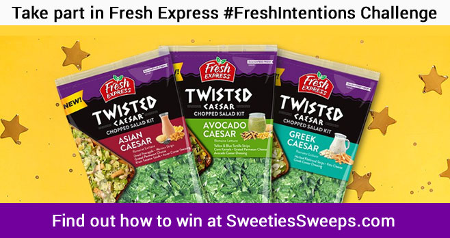 Take part in Fresh Express #FreshIntentions Challenge for a chance to win a year's worth of Fresh Express salad (awarded as a $1,000 Visa gift card) or one of the weekly $100 Visa gift card prizes